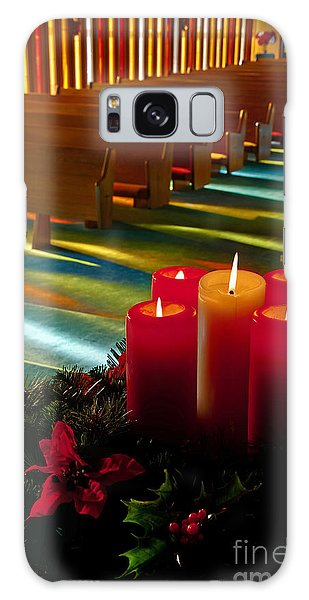 Christmas Candles At Church Art Prints Galaxy Case by Valerie Garner