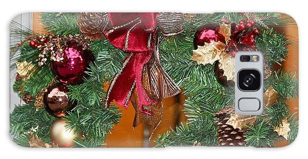Galaxy Case featuring the photograph Christmas Door Wreath by Ann Murphy