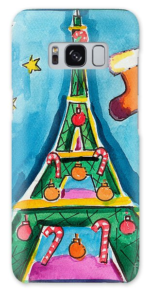 Christmas Eiffel Tower Painting Galaxy Case