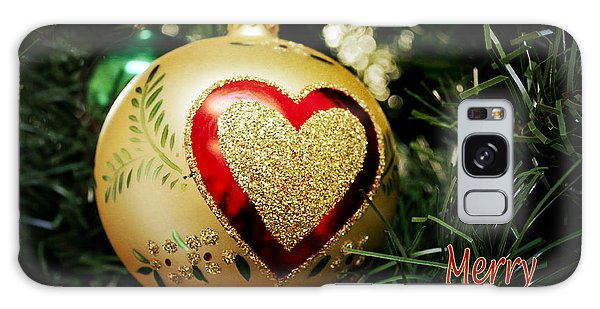 Christmas Gold Ball With Heart And Greeting Galaxy Case
