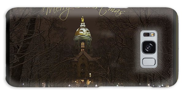 Christmas Greeting Card Notre Dame Golden Dome In Night Sky And Snow Galaxy Case
