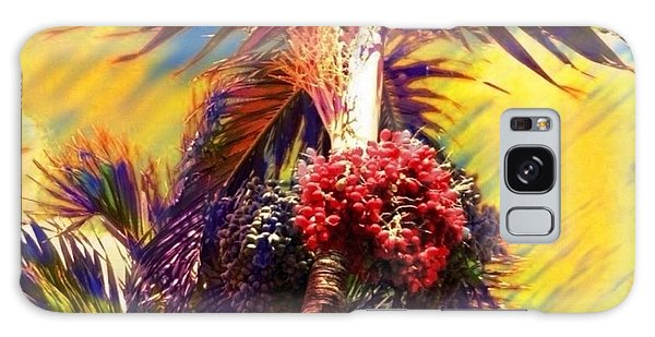 Christmas Palm Tree In Yellow - Square Galaxy Case by Lyn Voytershark