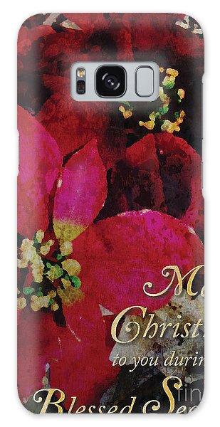 Christmas Poinsettia Galaxy Case by Cheryl McClure
