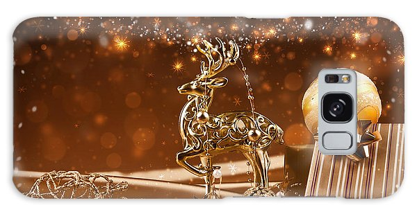 Christmas Reindeer In Gold Galaxy Case