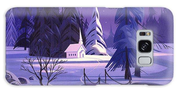 Church In Snow Galaxy Case by Michael Humphries