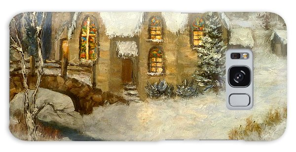 Church Snow Paintings Galaxy Case