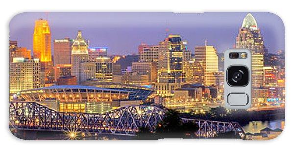 Cincinnati Skyline At Dusk Sunset Color Panorama Ohio Galaxy Case