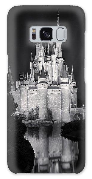 Walt Disney Galaxy Case - Cinderella's Castle Reflection Black And White by Adam Romanowicz