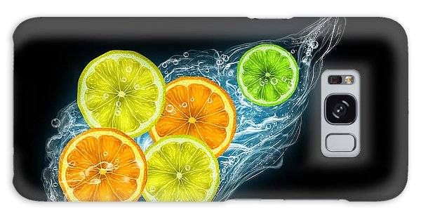 Citrus Fruits On A Black Background Galaxy Case