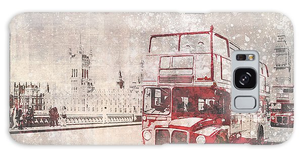 Houses Of Parliament Galaxy Case - City-art London Red Buses II by Melanie Viola