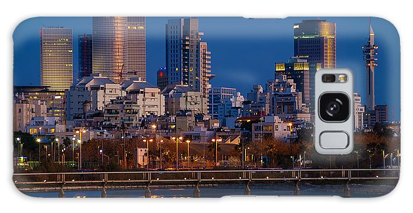 city lights and blue hour at Tel Aviv Galaxy Case by Ron Shoshani