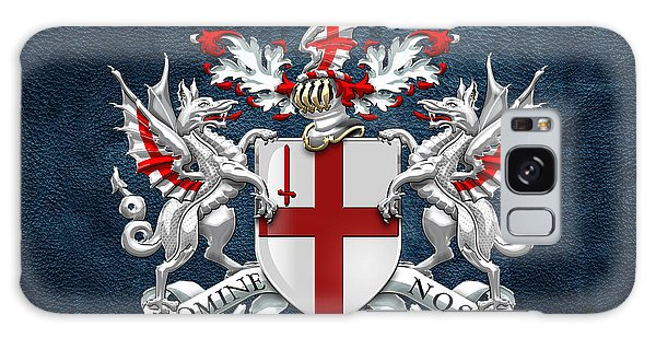 City Of London - Coat Of Arms Over Blue Leather  Galaxy Case