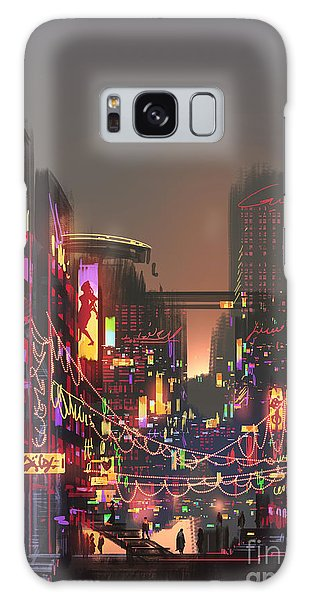 Downtown Galaxy Case - Cityscape Digital Painting Of Building by Tithi Luadthong