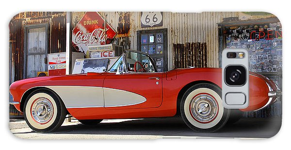 66 Galaxy Case - Classic Corvette On Route 66 by Mike McGlothlen