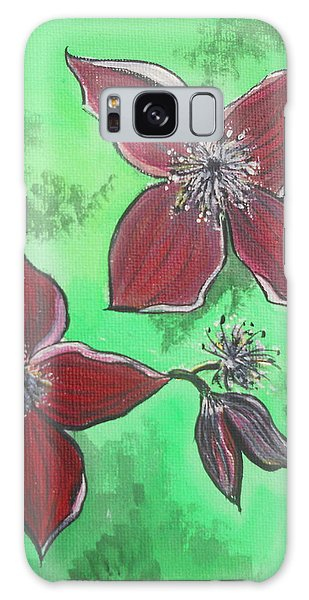 Galaxy Case - Clematis Burgundy by Kathy Spall