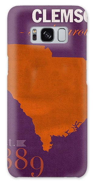 Clemson University Tigers College Town South Carolina State Map Poster Series No 030 Galaxy Case by Design Turnpike