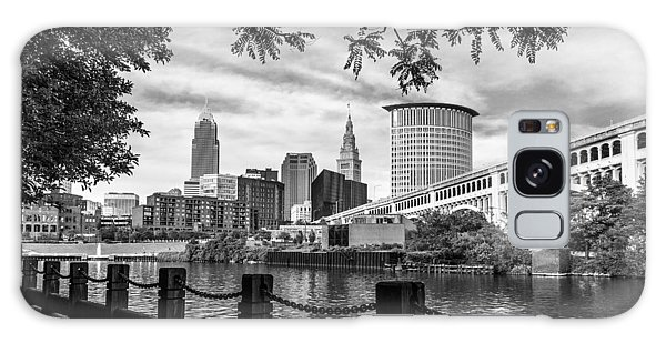 Cleveland River Cityscape Galaxy Case by Dale Kincaid