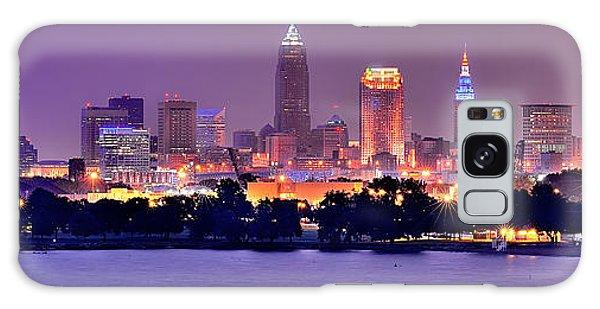 Cleveland Skyline At Night Evening Panorama Galaxy Case