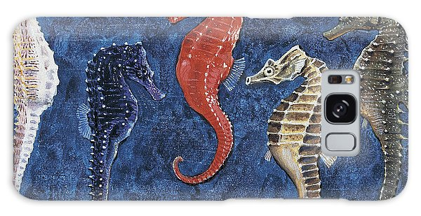 Close-up Of Five Seahorses Side By Side  Galaxy Case by English School
