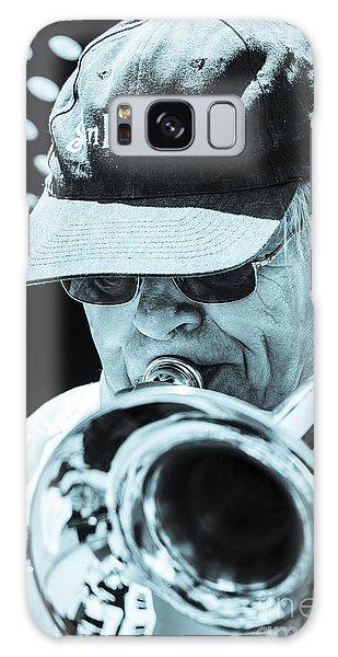 Close Up Of Male Trombone Player In Baseball Cap Galaxy Case