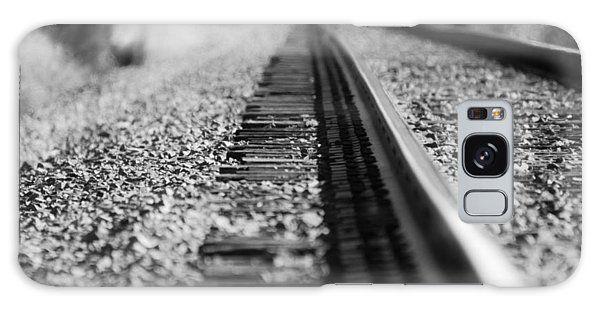 Close Up Of Rail Road Tracks Galaxy Case