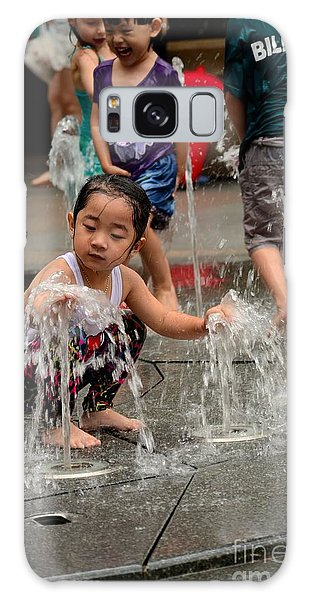 Clothed Children Play At Water Fountain Galaxy Case