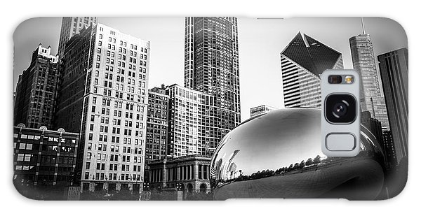 Cloud Gate Bean Chicago Skyline In Black And White Galaxy Case