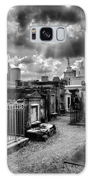 Cloudy Day At St. Louis Cemetery In Black And White Galaxy Case by Chrystal Mimbs