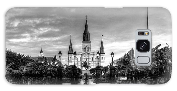 Cloudy Morning At  St. Louis Cathedral In Black And White Galaxy Case