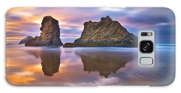 Sea Stacks Galaxy Case - Coastal Cloud Dance by Darren  White