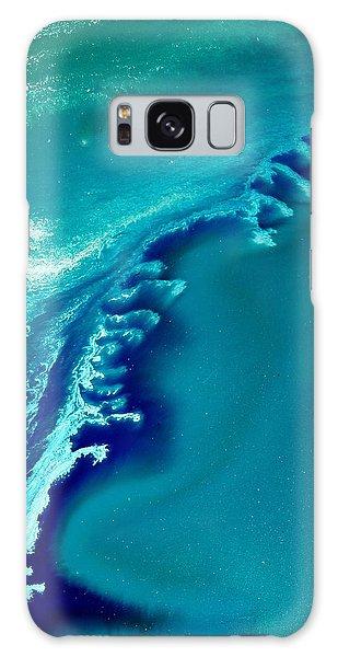 Coastal Surf Blue Abstract Waves By Kredart Galaxy Case
