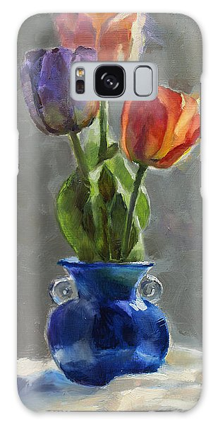 Cobalt And Tulips Still Life Painting Galaxy Case