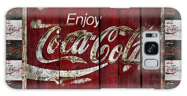 Coca Cola Sign With Little Cokes Border Galaxy Case by John Stephens