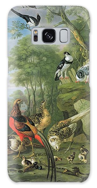 Cock Pheasant Hen Pheasant And Chicks And Other Birds In A Classical Landscape Galaxy Case