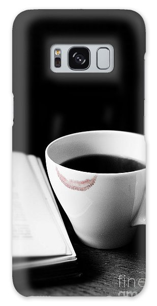 Coffee Cup With Lipstick Mark And Book Galaxy Case