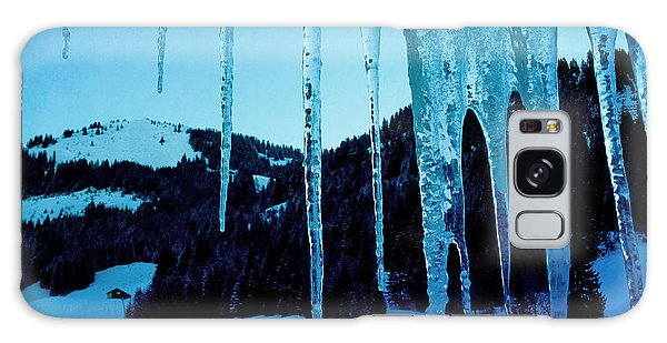 Blue Galaxy Case - Cold Outside - Icicles In Winter by Matthias Hauser