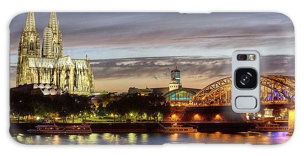 Galaxy Case featuring the photograph Cologne Cathedral With Rhine Riverside by Heiko Koehrer-Wagner