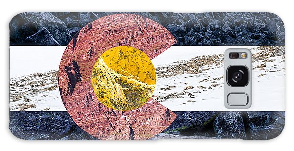 Colorado State Flag With Mountain Textures Galaxy Case