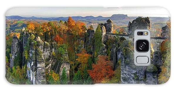 Colorful Bastei Bridge In The Saxon Switzerland Galaxy Case