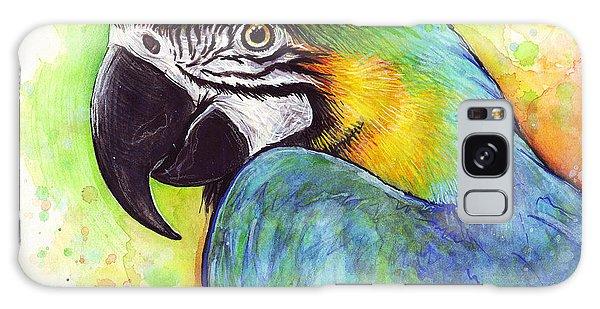 Mixed-media Galaxy Case - Macaw Watercolor by Olga Shvartsur
