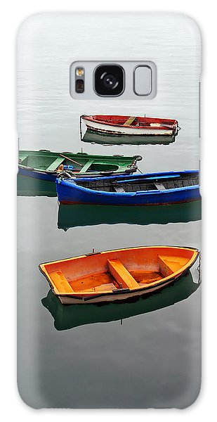 colorful boats on Santurtzi Galaxy Case