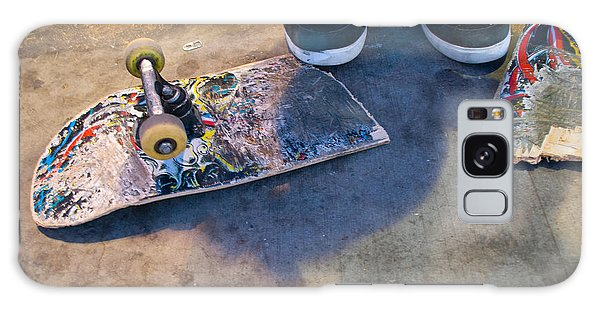Colorful Busted Skateboard With Shoes  Galaxy Case