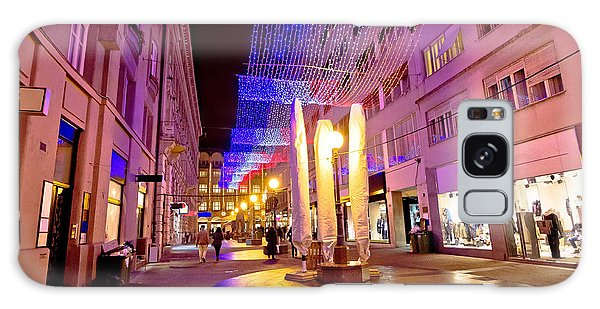 Colorful Christmas Decoration Of Zagreb Street Galaxy Case by Brch Photography