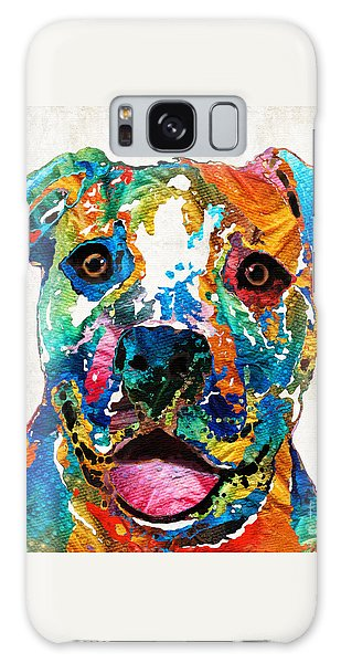 Colorful Dog Pit Bull Art - Happy - By Sharon Cummings Galaxy Case