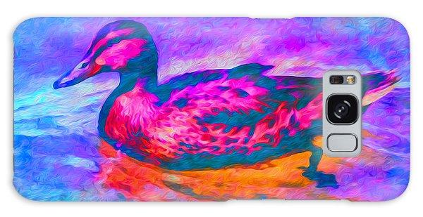 Galaxy Case featuring the digital art Colorful Duck Art By Priya Ghose by Priya Ghose
