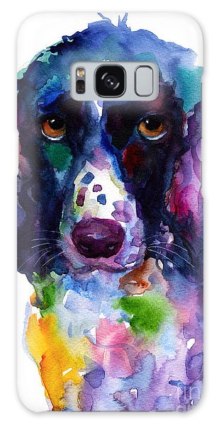Watercolor Pet Portraits Galaxy Case - Colorful English Springer Setter Spaniel Dog Portrait Art by Svetlana Novikova
