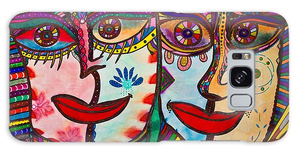 Colorful Faces Gazing - Ink Abstract Faces Galaxy Case