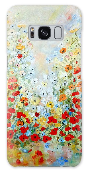 Colorful Field Of Poppies Galaxy Case