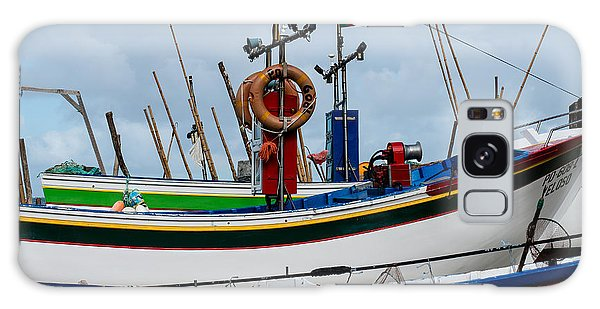 colorful fishing boat with Portuguese flag  Galaxy Case