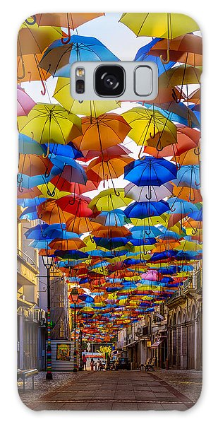 Colorful Floating Umbrellas Galaxy Case